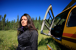 CANADA ALBERTA FORT MCMURRAY 20JUL09 - Greenpeace campaigner Melina Laboucan-Massimo stands in a clearing in the Boreal forest north of Fort McMurray, northern Alberta, Canada...jre/Photo by Jiri Rezac / GREENPEACE..© Jiri Rezac 2009
