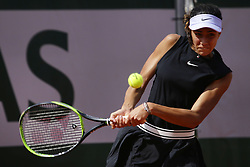 May 23, 2019 - Paris, France - Olga Danilovic of Serbia hits a return during her women's singles against Geoggina Garsia Perez of Spain in the second round of the qualifications of Roland Garros, in Paris, France, on 23 May 2019. (Credit Image: © Ibrahim Ezzat/NurPhoto via ZUMA Press)
