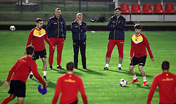 Montenegro Head Coach Ljubisa Tumbakovic (centre) during the training session at the Football Association of Montenegro, Podgorica.