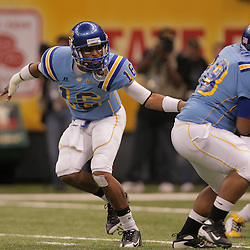 2008 November, 29: Southern University quarterback Bryant Lee (16) hands off to Southern University FB Alvin Fosselman (38) during a 29-14 win by Grambling State over Southern University during the 35th annual State Farm Bayou Classic at the Louisiana Superdome in New Orleans, LA.  .