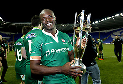 Topsy Ojo of London Irish with the Greene King IPA Championship trophy - Mandatory by-line: Robbie Stephenson/JMP - 24/05/2017 - RUGBY - Madejski Stadium - Reading, England - London Irish v Yorkshire Carnegie - Greene King IPA Championship Final 2nd Leg