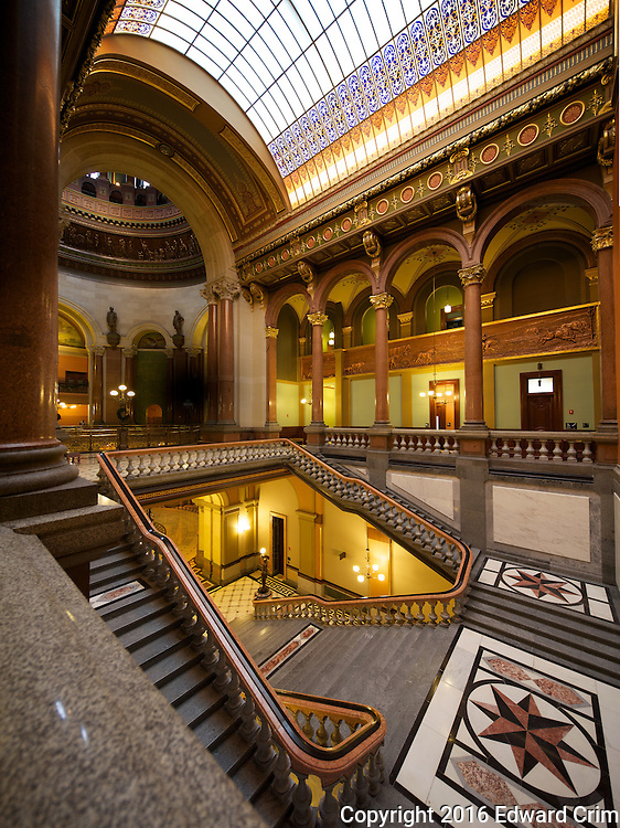 The grand stair of the Illinois capitol as pictured from the side, showing the barrel vault skylight above.