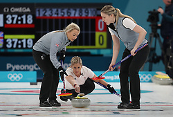 Great Britain's Vicki Adams (centre) during the Women's Round Robin Session 1 match against Olympic Athletes from Russia at the Gangneung Curling Centre on day five of the PyeongChang 2018 Winter Olympic Games in South Korea.