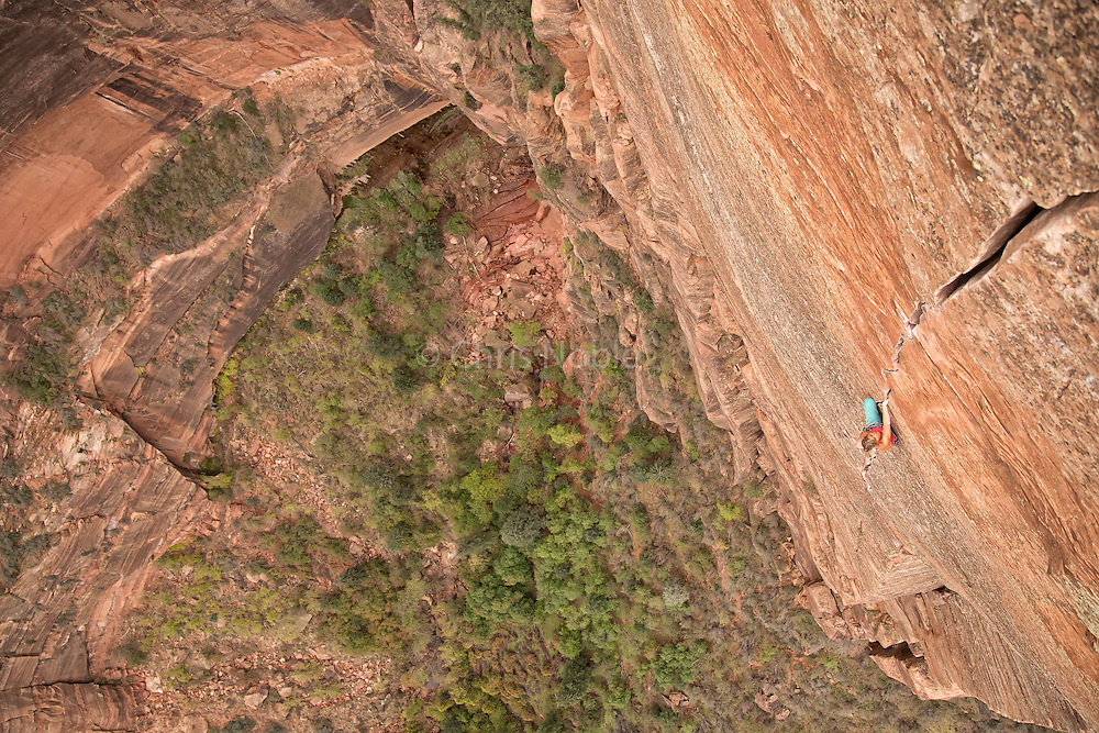 Mayan Smith-Gobat dances up the 5.11 headwall of Zion's Shune's Buttress Route.