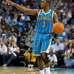 October 27, 2010; New Orleans, LA, USA;  New Orleans Hornets point guard Chris Paul (3) controls the ball during the second half against the Milwaukee Bucks at the New Orleans Arena. The Hornets defeated the Bucks 95-91.  Mandatory Credit: Derick E. Hingle