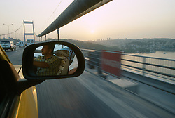 TURKEY ISTANBUL JUL02 - View from a taxi onto the second Bosphorus bridge, the fourth largest bridge in the world. It connects the European and Asian parts of Istanbul and is one of the most heavily used traffic ateries in Turkey...jre/Photo by Jiri Rezac..© Jiri Rezac 2002..Contact: +44 (0) 7050 110 417.Mobile:   +44 (0) 7801 337 683.Office:    +44 (0) 20 8968 9635..Email:     jiri@jirirezac.com.Web:     www.jirirezac.com