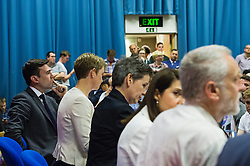 © Licensed to London News Pictures. 06/06/2015. London, UK. Candidates arrive on stage L to R Andy Burnham, Yvette Cooper,  Mary Creagh, Liz Kendall and Jeremy Corbyn.  Current Labour Leadership candidates attend a debate at the Fabien Society Conference, held at the institute of Education in London. Photo credit: Ben Cawthra/LNP