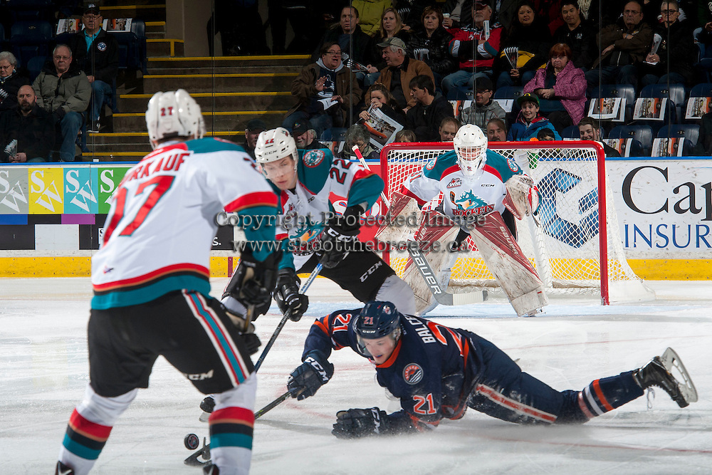 KELOWNA, CANADA - JANUARY 7: Brodan Salmond #31 of the Kelowna Rockets defends the net against the Kamloops Blazers on January 7, 2017 at Prospera Place in Kelowna, British Columbia, Canada.  (Photo by Marissa Baecker/Shoot the Breeze)  *** Local Caption ***