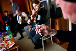 CZECH REPUBLIC MORAVIA BANOV 5APR10 - A glass of Slivovice, home-made plum brandy is raised to toast to the  traditional Easter Monday celebration in Banov, Moravia, Czech Republic...jre/Photo by Jiri Rezac..© Jiri Rezac 2010