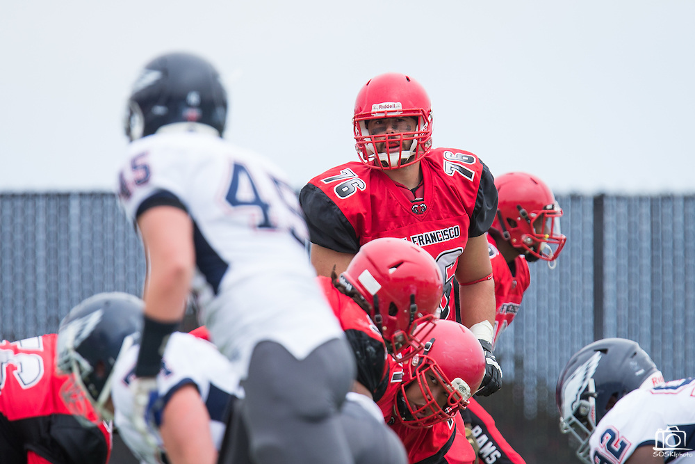 Community College of San Francisco outside lineman Elliot Baker (76) watches the line of scrimmage against College of Siskiyous at Community College of San Francisco in San Francisco, Calif., on September 10, 2016. (Stan Olszewski/Special to S.F. Examiner)