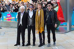 © Licensed to London News Pictures. 04/04/2016. CHARLIE WATTS, RONNIE WOODS, MICK JAGGER and KEITH RICHARDS attend The Rolling Stones Exhibition Private at The Saatchi Gallery. London, UK. Photo credit: Ray Tang/LNP