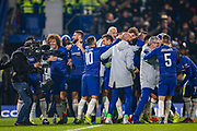 Chelsea Players celebrate at full time after the EFL Cup semi final second leg match between Chelsea and Tottenham Hotspur at Stamford Bridge, London, England on 24 January 2019.