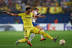 September 20, 2018 - Vila-Real, Castellon, Spain - Ramiro Funes Mori of Villarreal CF and Andrew Halliday of Rangers FC during the UEFA Europa League Group G match between Villarreal CF and Rangers FC at La Ceramica Stadium on September 20, 2018 in Vila-real, Spain. (Credit Image: © Maria Jose Segovia/NurPhoto/ZUMA Press)