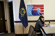 A tired staff member at work in the Bernie Sanders campaign office in Burlington, Vermont the day after Super Tuesday,  Wednesday, March 2, 2016.  CREDIT: Cheryl Senter for The New York Times