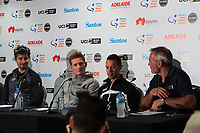 Peter Sagan (L) , Andre Greipel (Lotto Soudal,Richie Porte (BMC Racing Team)<br /> - Santos Tour Down Under Race Director Mike Turtur at Media Conference for the Tour Down Under, Australia on the 13 of January 2018 ( Credit Image: &copy; Gary Francis / ZUMA WIRE SERVICE )