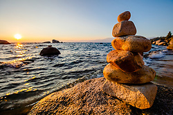 """""""Cairn at Lake Tahoe 2"""" - This stacked rock cairn was photographed at Whale Beach, Lake Tahoe. Shot at sunset."""