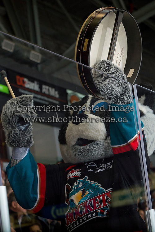 KELOWNA, CANADA - OCTOBER 20: Kelowna Rockets' mascot Rocky Racoon bangs his drum against the Portland Winterhawks on October 20, 2017 at Prospera Place in Kelowna, British Columbia, Canada.  (Photo by Marissa Baecker/Shoot the Breeze)  *** Local Caption ***