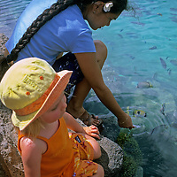 Oceania, South Pacific, French Polynesia, Tahiti. Toddler learns about tropical fish with Polynesian girl.