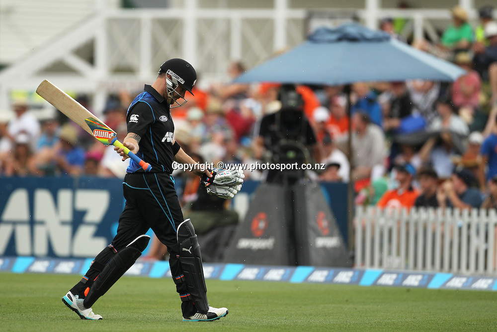 Brendon McCullum of the Black Caps after being dismissed during the first ODI cricket game between the Black Caps v Sri Lanka at Hagley Oval, Christchurch. 11 January 2015 Photo: Joseph Johnson / www.photosport.co.nz