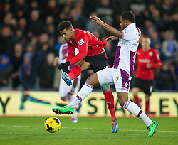 CARDIFF, WALES - Tuesday, February 11, 2014: Cardiff City's Fraizer Campbell shoots wide against Aston Villa during the Premiership match at the Cardiff City Stadium. (Pic by David Rawcliffe/Propaganda)