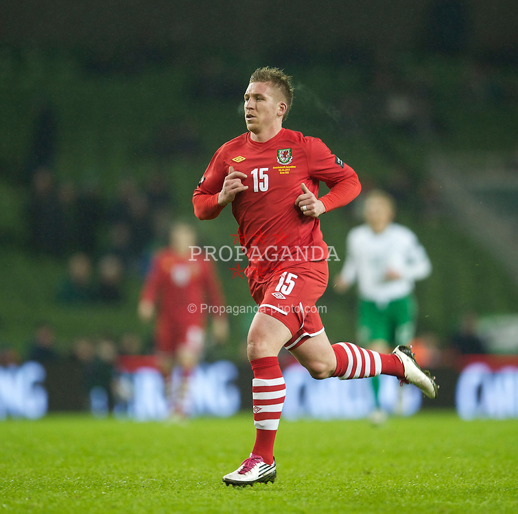 DUBLIN, IRELAND - Tuesday, February 8, 2011: Wales' Freddie Eastwood in action against the Republic of Ireland during the opening Carling Nations Cup match at the Aviva Stadium (Lansdowne Road). (Photo by David Rawcliffe/Propaganda)