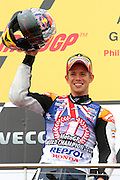 World Moto GP Championship.<br /> Round16.Phillip Island.Australia.Sunday16.10.2011.<br /> #27 Casey STONER (AUS) Repsol Honda Team.<br /> Wins the race and is crowned the 2011 Moto GP Champion on his 26th birthday.<br /> © ATP Photo/ Damir IVKA<br /> Motorrad-WM - MotoGP in Australien - Motorrad - Moto GP -Motorradsport - Grand Prix in Phillip Island - Motorcycle racing in Australia - Moto2 - 16.10.2011 - <br /> - fee liable image - Photo Credit: © ATP / Damir IVKA