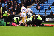Wasps lock Will Rowlands  receives extensive treatment on the pitch during the Aviva Premiership match between Wasps and Exeter Chiefs at the Ricoh Arena, Coventry, England on 18 February 2018. Picture by Dennis Goodwin.