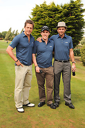 Left to right, HUGH GRANT, ROB BRYDON and DOUGRAY SCOTT at the Mini Masters Golf tournament in aid of LEUKA - London's celebrity golf tournament was held at Duke's Meadow Golf Club, Dan Mason Drive, London W4 on 16th July 2010.