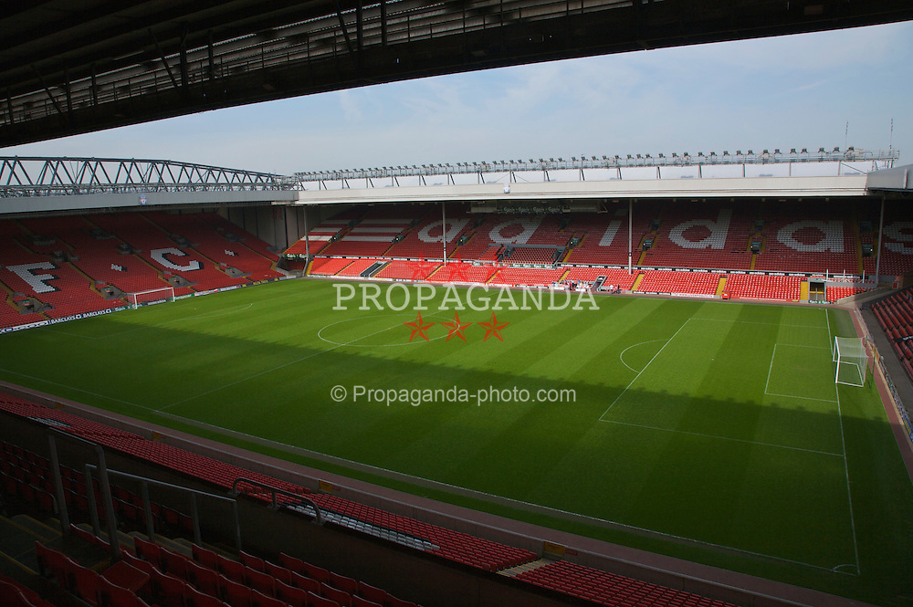 The view of the Anfield pitch from the Centenary Stand, centre of Block CE2.