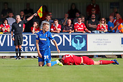 AFC Wimbledon striker Joe Pigott (39) lookoing at the ref after whistle gone for foul during the EFL Sky Bet League 1 match between AFC Wimbledon and Accrington Stanley at the Cherry Red Records Stadium, Kingston, England on 17 August 2019.