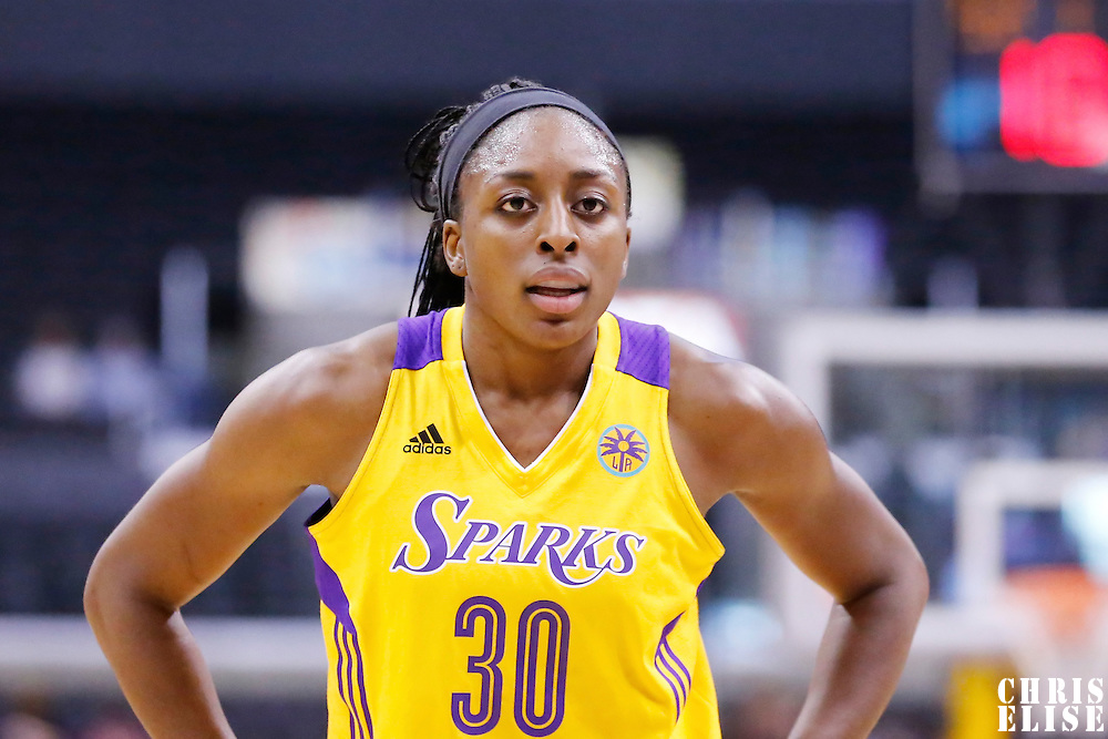 24 August 2014: Los Angeles Sparks forward Nneka Ogwumike (30) reacts during the Phoenix Mercury 93-68 victory over the Los Angeles Sparks, in a Conference Semi-Finals at the Staples Center, Los Angeles, California, USA.