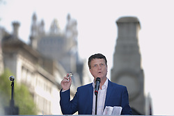 "© Licensed to London News Pictures . 06/05/2018. London, UK. GERARD BATTEN speaks at the demo. Supporters of alt-right and anti-Islam groups, including Generation Identity and the Democratic Football Lads Alliance, demonstrate at Whitehall in Westminster, opposed by anti-fascists. Speakers billed in the ""Day for Freedom"" include former EDL leader Tommy Robinson, Milo Yiannopoulos, youtuber Count Dankula (Markus Meechan), For Britain leader Anne Marie Waters, UKIP leader Gerard Batten, Breitbart's Raheem Kassam and Lauren Southern. The event was originally planned as a march to Twitter's HQ in protest at their banning of Robinson and the Home Office's ban on Martin Sellner and Brittany Pettibone entering the UK, in what protesters describe as limits being imposed on free speech. Photo credit: Joel Goodman/LNP"