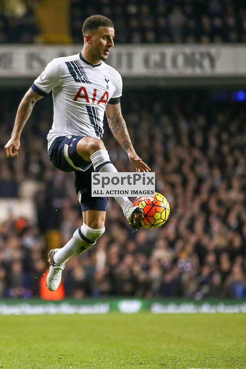 Kyle walker controls the ball in the air During Tottenham Hotspur vs West Ham United on Sunday the 22nd November 2015.