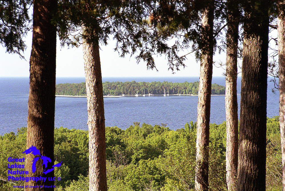 One of the most breathtaking vistas that I have experienced is that of Horseshoe Island, when viewed from the bluffs just east of Nicolet Bay in Door County Wisconsin's Peninsula State Park.