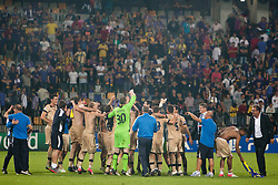 Team Dinamo Zagreb celebrate after Play-offs for Champions League between NK Maribor (Slovenia) and GNK Dinamo Zagreb (Croatia), on August 28, 2012, in Maribor, Slovenia. (Photo by Urban Urbanc / Sportida.com)