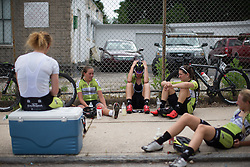 Parkhotel Valkenburg Cycling Team riders are trying recover after a hot and hard Philadelphia International Cycling Classic, a 117.8 km road race in Philadelphia on June 5, 2016 in Philadelphia, PA.