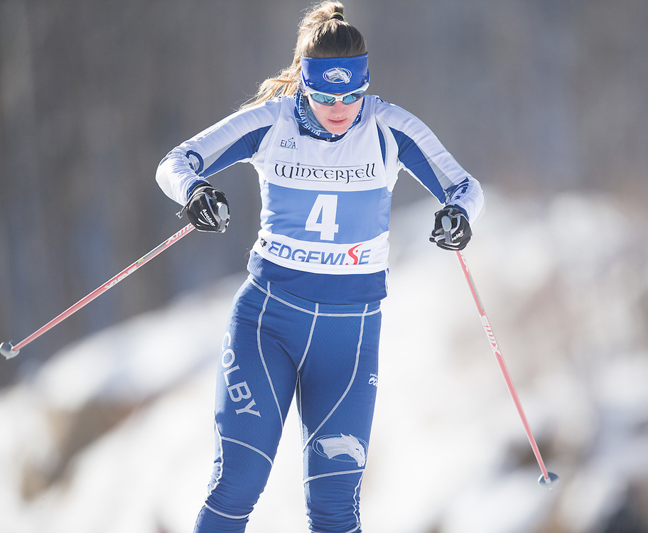 Alice Hotopp skis during the Bates College Winter Carnival Women's 5k Freestyle at Black Mountain on January 17, 2015 in Rumford, ME. (Dustin Satloff/Colby College Athletics)