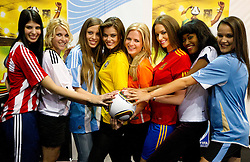 Miss Paraguay - Tamara Sosa-Zapattini, Germany - Maike Frohlingsdorf, Argentina -Mae Screlkove, Brazil- Luciana Reis, Netherlands - Francis Beukevelb, Spain - Laura Garcia-Fernandez, Ghana - Mimi Areme and Uruguay - Eliana Oliveria- Gonnet at Miss World contestants from the quarter finals FIFA World Cup 2010 at AIPS glamour event on June 30, 2010 at Nelson Mandela Square in Sandton Convention Centre in Johannesburg. (Photo by Vid Ponikvar / Sportida)