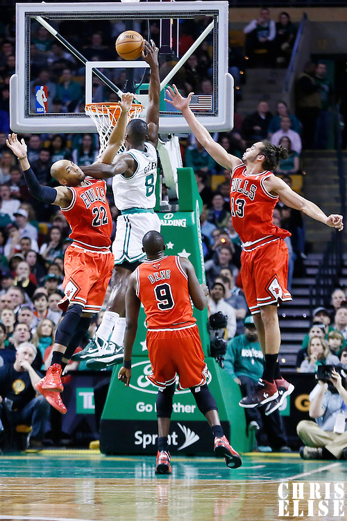 13 February 2013: Boston Celtics power forward Jeff Green (8) is fouled by Chicago Bulls power forward Taj Gibson (22) during the Boston Celtics 71-69 victory over the Chicago Bulls at the TD Garden, Boston, Massachusetts, USA.