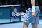 Andy Murray breaks his racket during the ATP World Tour Finals at the O2 Arena, London, United Kingdom on 20 November 2015. Photo by Phil Duncan.