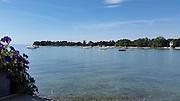Motorboote in der Wasserburger Bucht, Wasserburg, Bodensee, Bayern, Deutschland