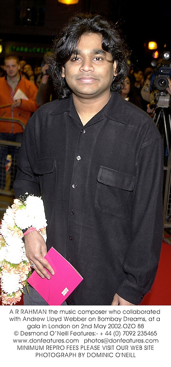A R RAHMAN the music composer who collaborated with Andrew Lloyd Webber on Bombay Dreams, at a gala in London on 2nd May 2002.	OZO 88