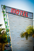 Close up of the Miami Modern style pylon and neon sign at the Vagabond Motel designed by Robert Sawrtburg in 1953 and renovated and reopened some 60 years later.