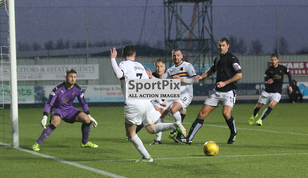 Kevin Cawlay sends in a cross during the Falkirk v Dumbarton  Scottish Championship  26  December 2015 <br /> <br /> (c) Andy Scott | SportPix.org.uk