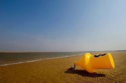 Marker buoy at low tide, Brancaster, North Norfolk Coast, England, UK.
