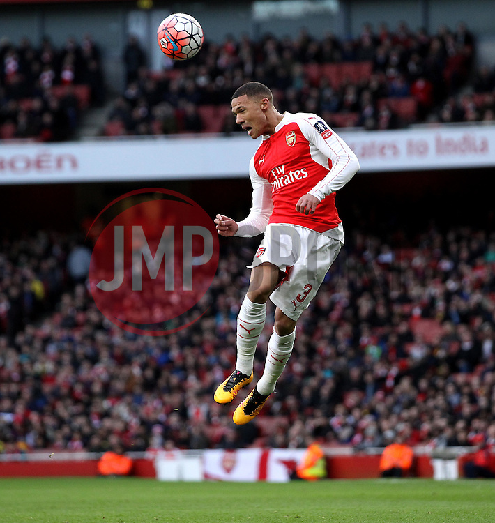 Kieran Gibbs of Arsenal heads the ball - Mandatory byline: Robbie Stephenson/JMP - 30/01/2016 - FOOTBALL - Emirates Stadium - London, England - Arsenal v Burnley - FA Cup Forth Round