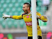 Wroclaw 18/10/2014 <br /> T-Mobile Ekstraklasa 12.kolejka <br /> Sezon 2014/2015<br /> Mecz Slask Wroclaw v Piast Gliwice<br /> Na zdj. Mariusz Pawelek /Slask/<br /> Fot. Piotr Hawalej