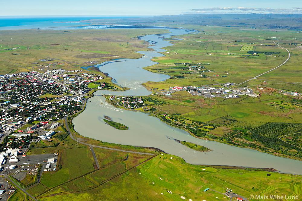 Selfoss og Ölfusá séð til suðvesturs, Sveitarfélagið Árborg /  Selfoss and Olfusa river viewing southwest.  Sveitarfelagid Arborg.
