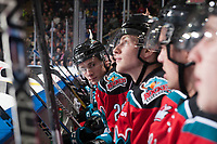 KELOWNA, CANADA - OCTOBER 28: Nolan Foote #29 of the Kelowna Rockets sits on the bench against the Prince George Cougars on October 28, 2017 at Prospera Place in Kelowna, British Columbia, Canada.  (Photo by Marissa Baecker/Shoot the Breeze)  *** Local Caption ***