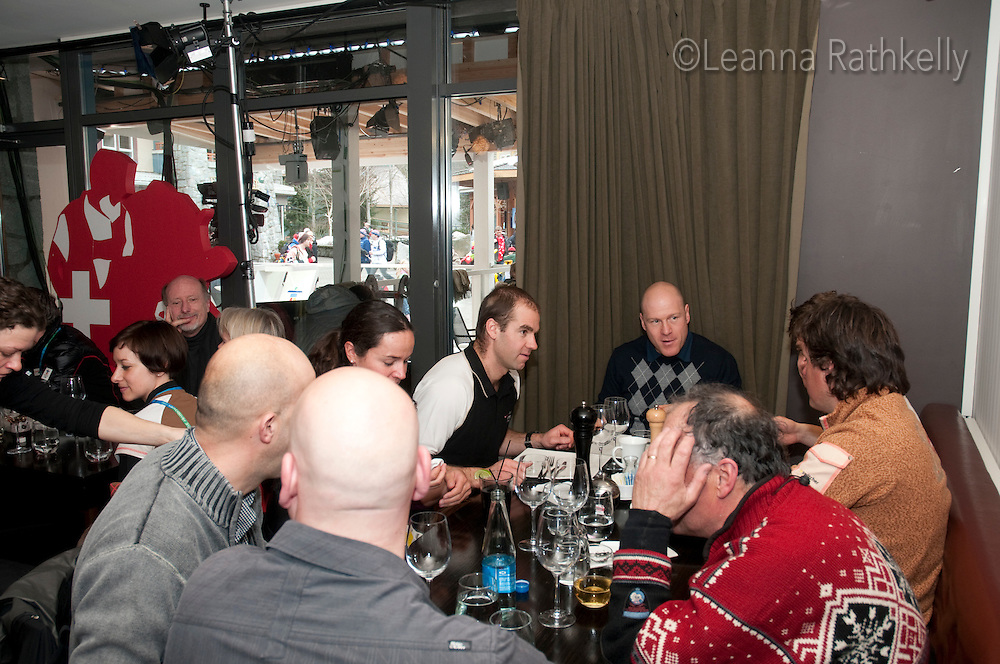 Didier Cuche enjoys lunch at the House of Switzerland in Whistler for the 2010 Olympic Winter Games in Whistler, BC Canada